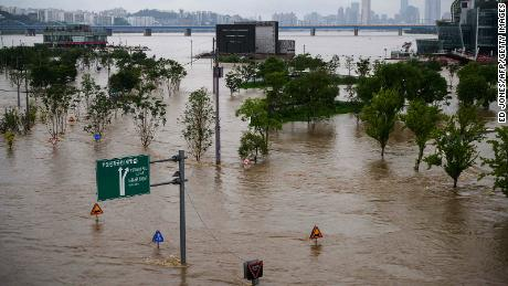 A flooded park beside the Han river in Seoul on August 3, 2020.