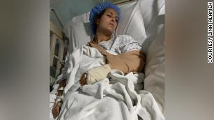 Lina Alameh in her hospital bed.