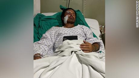 Imad Khalil in his hospital bed.