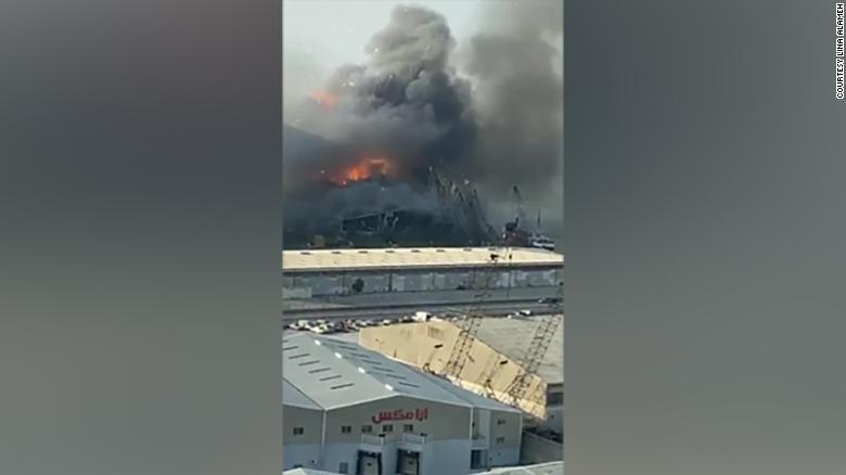 The first explosion, as seen in Lina Alameh's video.