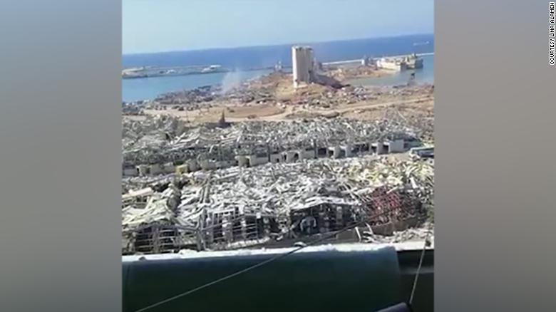 The remains of the port of Beirut, as seen from the apartment balcony.