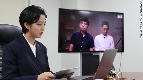 Ryu Ho-jeong, a lawmaker of South Korea's minor opposition Justice Party, holds a videoconference with Hong Kong pro-democracy advocates Nathan Law and Joshua Wong from the National Assembly in Seoul, South Korea, 10 June 2020.
