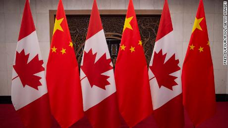 Canadian and Chinese flags are seen at the Diaoyutai State Guesthouse on December 5, 2017, in Beijing, China.