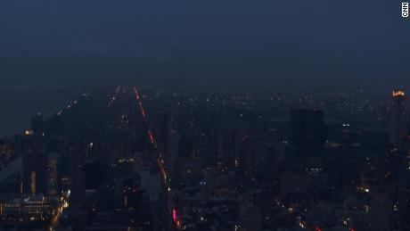 A screenshot taken from CNN Early Start of a power outage in New York City.