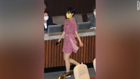 Ryu Ho-jeong wore a dress to South Korea's legislative assembly on Tuesday.