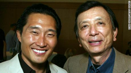 Actor Daniel Dae Kim and Actor James Hong poses at the opening night party for World Premiere of David Henry Hwang's