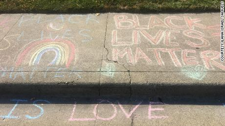 A message written by a neighbor outside Manette Sharick's home.