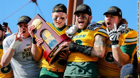 North Dakota State celebrates winning the NCAA Division I FCS title game against James Madison on January 11 at Toyota Stadium in Frisco, Texas.