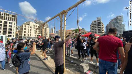 The effigies of leading politicians were attached to mock gallows which have become a key symbol of the demonstrations.