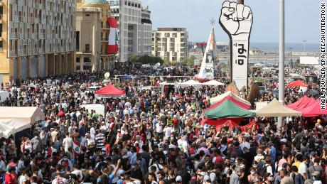 Thousands joined the protests in central Beirut.