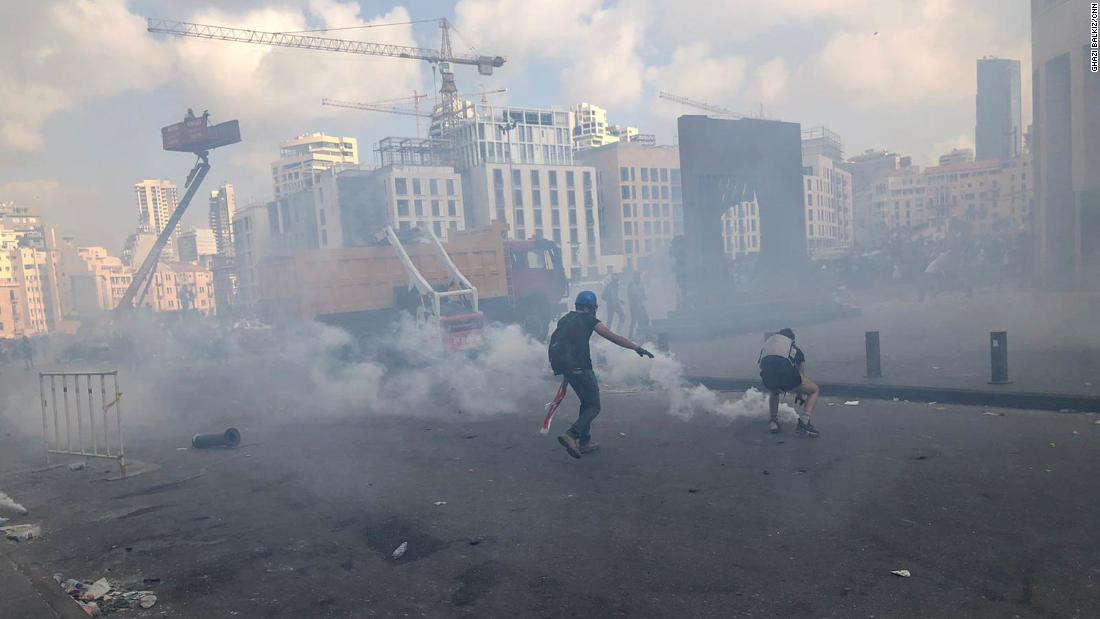 Mock gallows, tear gas and rock-throwers. Beirut erupts in violent protest days after blast.