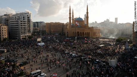 Demonstrators gather at a protest in Beirut on Saturday.