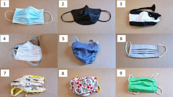 The 14 masks used in the test.