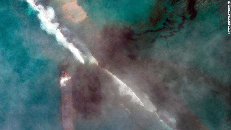 In this satellite image provided by 2020 Maxar Technologies on Friday, Aug. 7, 2020, an aerial view of oil leaking from the MV Wakashio.