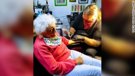 Dorothy Pollack getting her first tattoo.