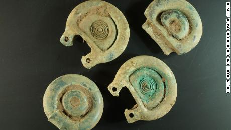 Objects found by Mariusz Stepien - believed to be decorative and functional pieces of a Bronze Age harness