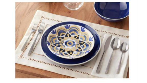 Lisbon Twilight-Blue-and-Mustard-Yellow Salad Plate Set