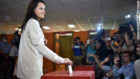 Presidential candidate Svetlana Tikhanovskaya casts her ballot during the presidential election in Minsk on August 9, 2020.