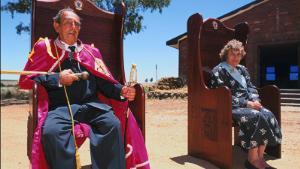 AUSTRALIA - JUNE 01:  Leonard Casley, Prince of Oz... In Australia On June, 1998-Prince Leonard & French born Princess Shirley  (Photo by Olivier CHOUCHANA/Gamma-Rapho via Getty Images)