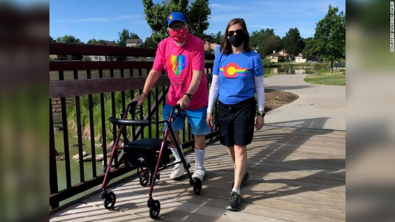 Kenneth Felts with his daughter, Rebecca Mayes, at the 2020 Denver Pride Virtual 5K.