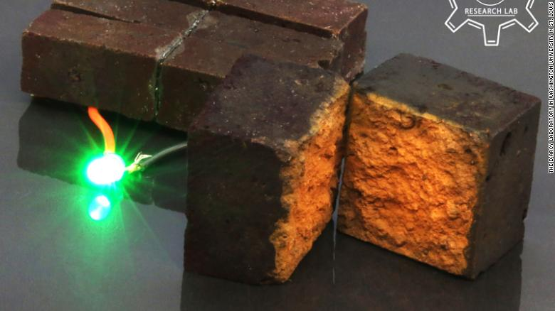 Here, a conventional brick has been transformed into an energy storage device that can power an LED light.