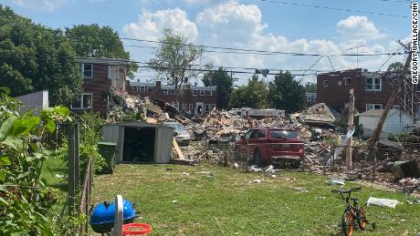 A gas explosion in northwest Baltimore killed two people and injured seven on Monday, August 10, 2020.