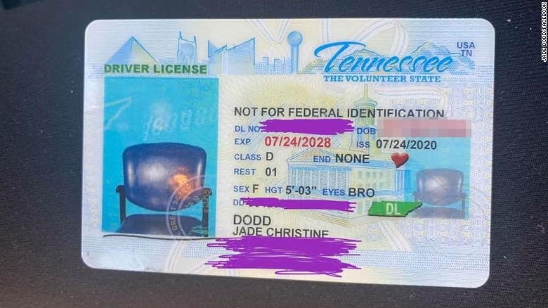 A Tennessee woman was surprised to find that her image was not on her new ID.