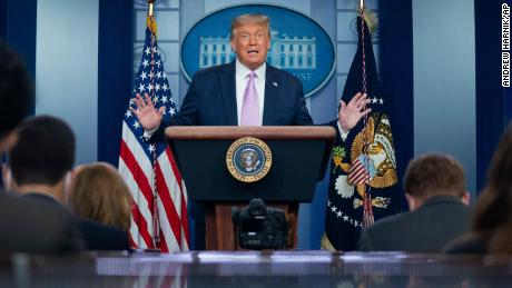 President Donald Trump speaks at a news conference in the James Brady Press Briefing Room at the White House, Tuesday, Aug. 11, 2020, in Washington.