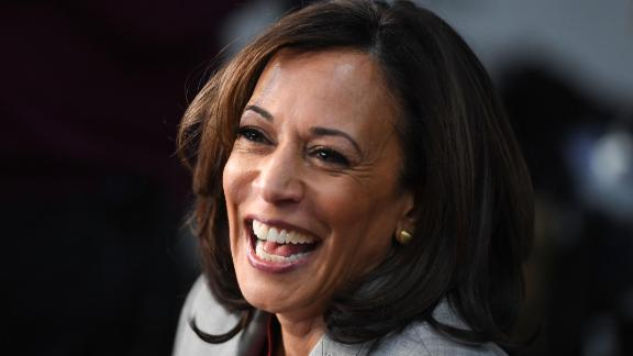 Democratic presidential hopeful California Senator Kamala Harris speaks to the press in the Spin Room after participating in the fifth Democratic primary debate of the 2020 presidential campaign season co-hosted by MSNBC and The Washington Post at Tyler Perry Studios in Atlanta, Georgia on November 20, 2019. (Photo by SAUL LOEB / AFP) (Photo by SAUL LOEB/AFP via Getty Images)