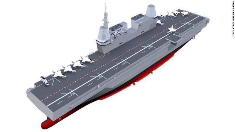An illustration of South Korea's planned aircraft carrier from the Ministry of Defense.