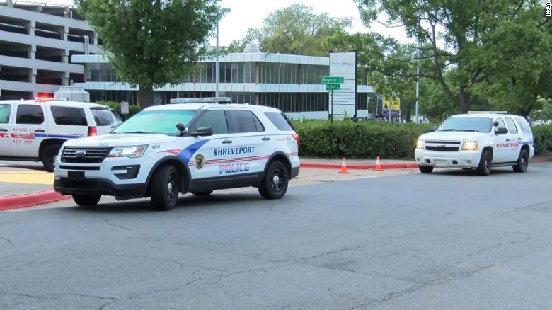 Several police cars were parked outside the medical center in Shreveport on Wednesday morning.