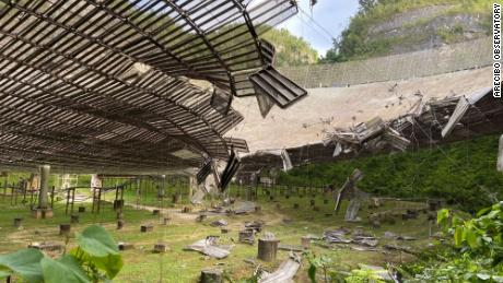 The Arecibo Observatory in Puerto Rico has been damaged by a broken cable.