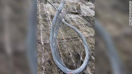 The broken, frayed cable that snapped at the Arecibo Observatory.