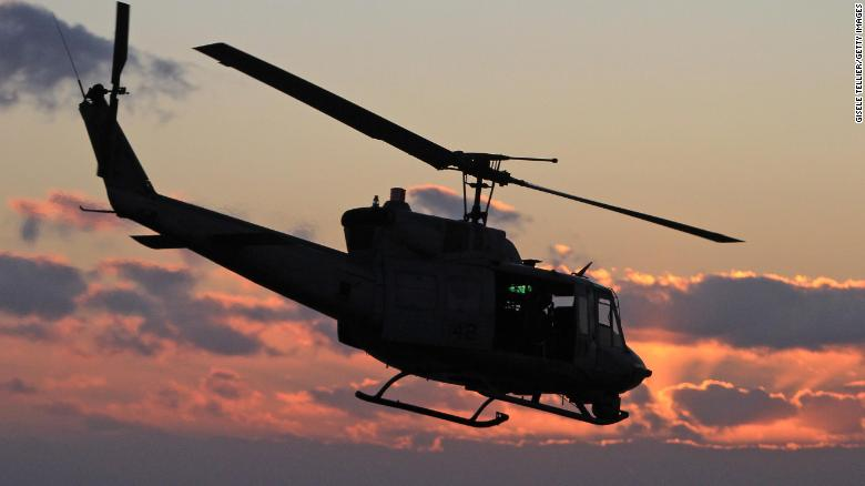 In this January 2012 file photo, a UH-1N Huey aircraft elevates after taking off near Catania, Italy.