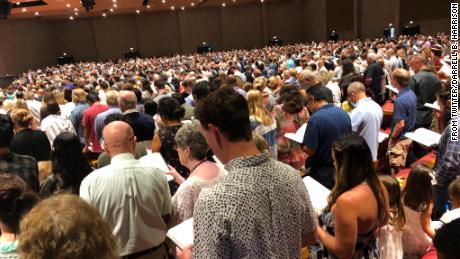 The crowd at an August 9 service at Grace, in an image posted by the church's social media director.