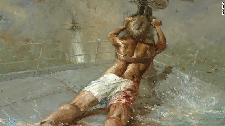 A painting from the Australian War Memorial depicts the figure of Ordinary Seaman Edward Sheean, a wound on his right thigh, firing an Oerlikon anti-aircraft gun at Japanese bombers on December 1, 1942.