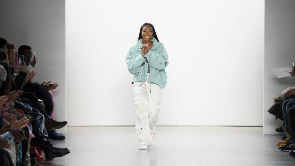 Tia Adeola walks the runway for the Tia Adeola fashion show during February 2020 at New York Fashion Week.