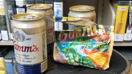 A stash of beer and gum dating back to the 1980s was found behind the shelves of a Washington library.