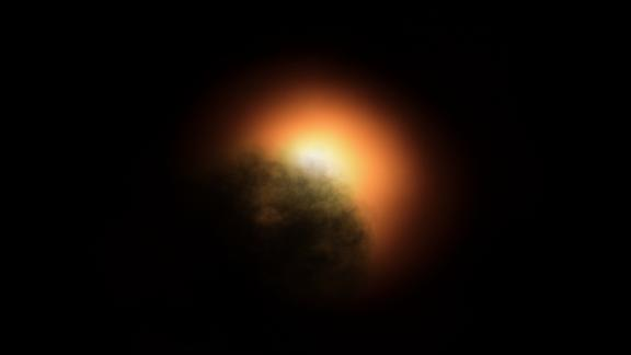 This artist's illustration shows the unexpected dimming of the star Betelgeuse.
