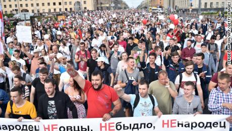 Tens of thousands of people protested in Minsk on Friday after a week of protests and allegations of violence from the country's security forces.