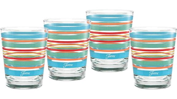Culver Officially Licensed Fiesta Stripes 14-Ounce Tapered Glass, 4-Pack