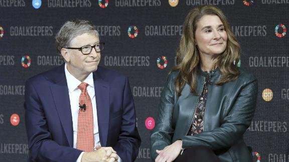 Bill Gates and his wife Melinda Gates introduce the Goalkeepers event at the Lincoln Center on September 26, 2018, in New York. (Photo by Ludovic Marin/AFP/Getty Images)