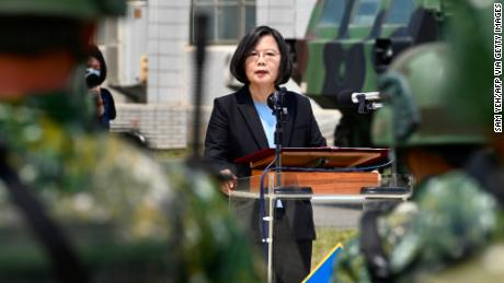Taiwan President Tsai Ing-wen delivers her address to soldiers amid the COVID-19 coronavirus pandemic during her visit to a military base in Tainan, southern Taiwan, on April 9.