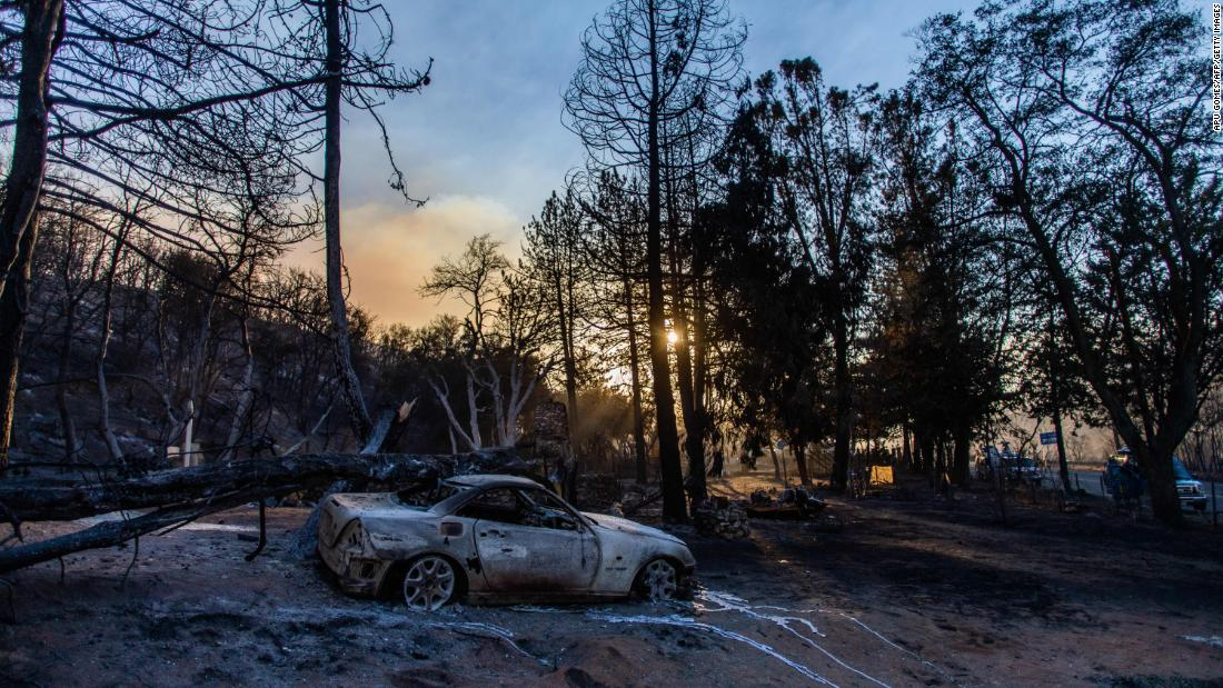 A car is charred by the Lake Fire near Lake Hughes, 60 miles north of Los Angeles, on August 13.