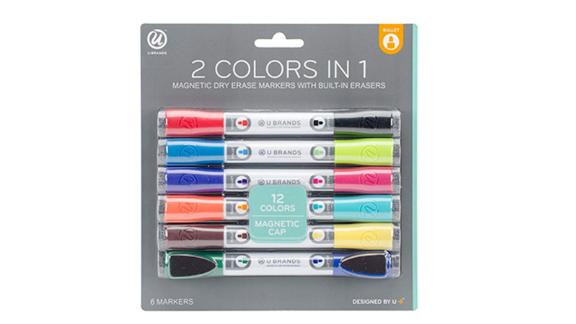 U Brands Low Odor Magnetic Double-Ended Dry Erase Markers With Erasers