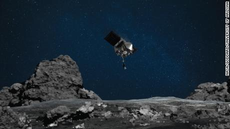 "NASA's OSIRIS-REx is ready for touchdown on asteroid Bennu. On Aug. 11, the mission will perform its ""Matchpoint"" rehearsal -- the second practice run of the Touch-and-Go (TAG) sample collection event. The rehearsal will be similar to the Apr. 14 ""Checkpoint"" rehearsal, which practiced the first two maneuvers of the descent, but this time the spacecraft will add a third maneuver, called the Matchpoint burn, and fly even closer to sample site Nightingale -- reaching an altitude of approximately 131 ft (40 m) -- before backing away from the asteroid. This artist's rendering shows OSIRIS-REx spacecraft descending towards asteroid Bennu to collect a sample of the asteroid's surface."