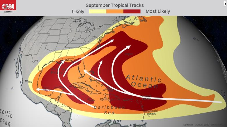 Typical track locations of tropical systems in September