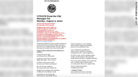 The August 2 newsletter featuring a poem by Truax.