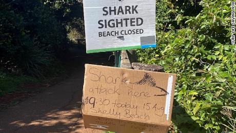 A sign warning of a shark attack on August 15 at Shelley Beach, New South Wales, Australia.