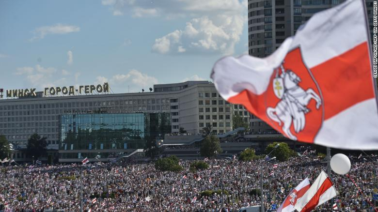 Opposition supporters at a demonstration in Minsk on August 16, 2020, a week after the country's contested election.
